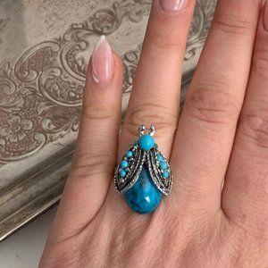 Silver bug ring boho style turquoise beads